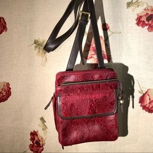 Relic Red Embossed Leather Crossbody Purse